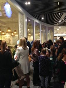 Crowd outside the Tea Salon